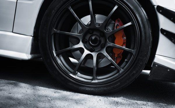 red brake white sport car